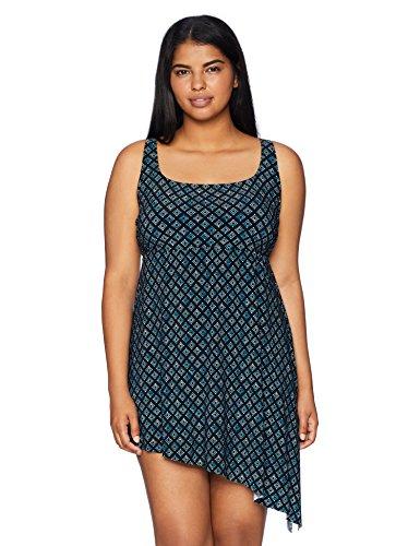 Amazon Brand - Coastal Blue Women's Plus Size Control Swimwear Side Tie Longline Tankini Top, Drizzy, 1X (16W-18W)