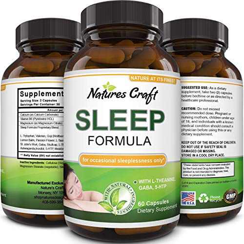 Natures Craft's Natural Sleep Aid Pills the Best Herbal Sleeping Formula with Melatonin, GABA,...