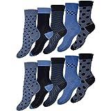 OCERA 10 Paar Damen Socken mit Punkten und im Blau-Anthrazit-Mix - Gr. 39-42