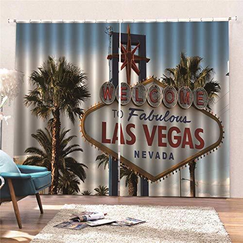 YNKNIT Vorhänge Blickdicht Thermovorhang Schallschutz Verdunkelungsvorhang Vorhänge Las Vegas mit Haken 2er Set für Kinderzimmer Wohnzimmer Schlafzimmer Küche,220x215cm (B x H)