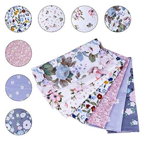 SUPERSUN 7PCS 20x20inch Patchwork Fabric Cotton Squares Bundles for Sewing Quilting DIY Craft Fabric Remnants Reusable Handmade Cloth, (50x50cm Colorful Flower)