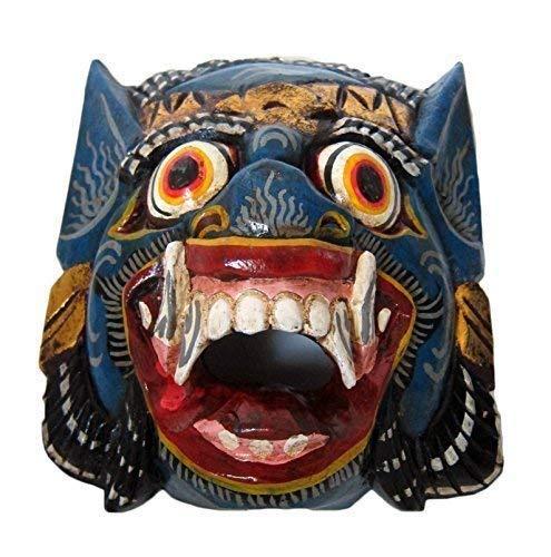 Double Duck Azul Madera Mono Máscara de Barong, Mano- Tallado en Bali, Máscara de Pared, Nuevo