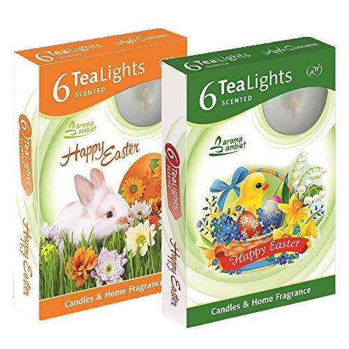 Candele Tealight profumate Pasqua - Candele decorazione pasqua 12 unità 3-4h