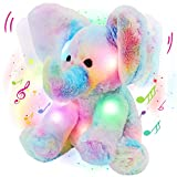 Glow Guards 12'' Light up Musical Electric Elephant Rainbow Plush Soft Toy Stuffed Animal Lullaby Night Light Interactive Hide and Seek Game Talking Doll Gifts for Toddler Kids (Elephant)