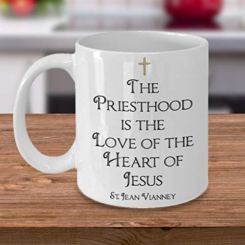 Seminarian Priest Pastor Ordination Catholic Christian Gifts Mug Priesthood is the Heart of Love Jesus Jesus Name...