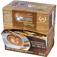 DULCILIGHT MIEL DE CAÑA MORENO EDULCORANTE GRANULADO NATURAL de azúcar de caña integral con el sabor del azúcar Moreno integral o panela 500+100 TOTAL 600 Sobres, Producto Premium Gourmet