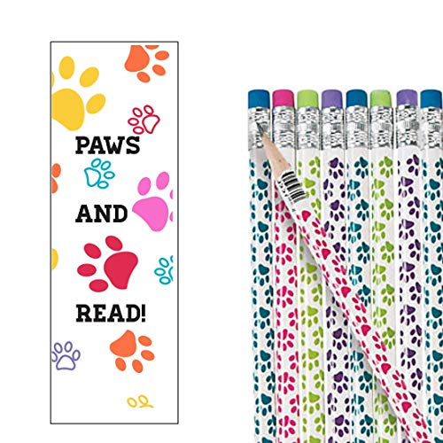 Paws And Read Bulk Reading Bookmarks Paw Print Pencils For Kids Students (96 Pieces)