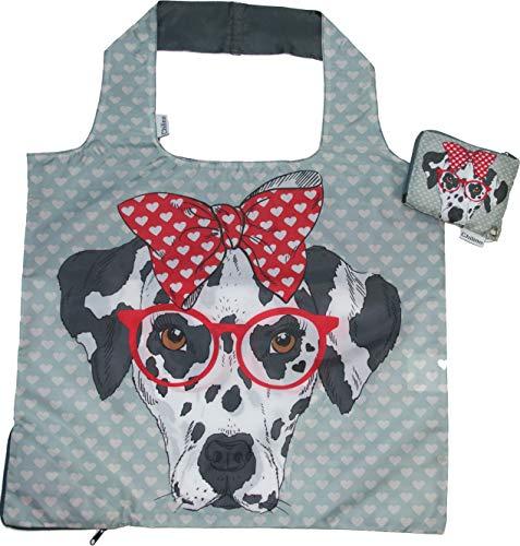 Chilino Hund Faltbare Mehrwegtasche/Umweltfreundlich/Hohe Tragkraft und Fassungsvermögen, grau, 47 x 41 cm