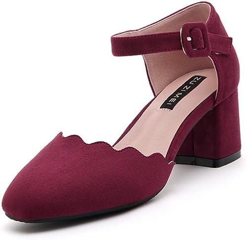 Xianshu Femmes Sexy Boucle Boucle Sandales Talon Talons Rugueux Mid Chaussures Pointu Pompes  édition limitée chaude