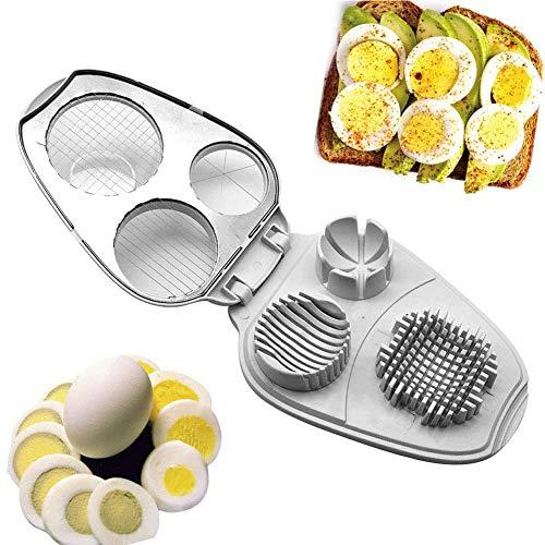 Qianren 3-in-1-Eierschneider mit klarem Eierbehälter für gekochtes Ei Zerkleinern Würfeln Multifunktions-Eierschneider Küchenhelfer aus Edelstahl