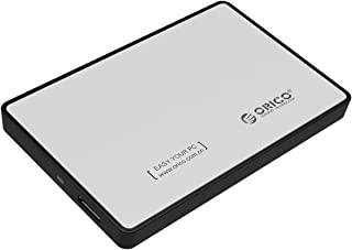"ORICO 2.5"" USB3.0 SATA External Hard Drive Enclosure for 9.5mm 7mm 2.5 Inch SATA HDD and SSD Tool-Free UASP Supported - Silver"