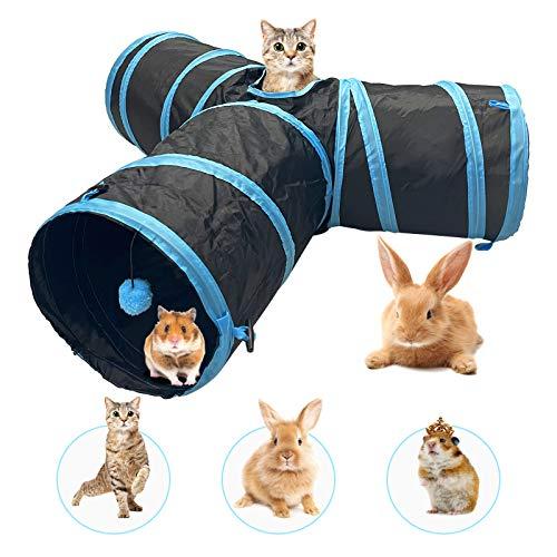 Katzentunnel Kaninchen Tunnel Hamster mit 3 Weg Ball Pet Play Tunnel Tube Katzen Guckloch für Kleine Kaninchen Welpen Frettchen Meerschweinchen