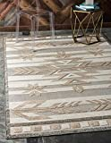 Unique Loom Outdoor Modern Collection Warm Colors Arrows Transitional Indoor and Outdoor Flatweave Beige  Area Rug (8' 0 x 10' 0)