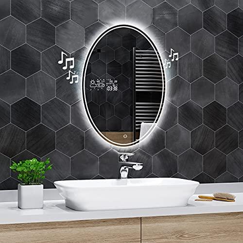 Alasta Espejo de Baño Dallas LED, Espejo de Pared Ovalado, Espejo con LED Iluminado - Espejo Elíptico con Accesorios, Color LED Frío Neutro Cálido a Elegir