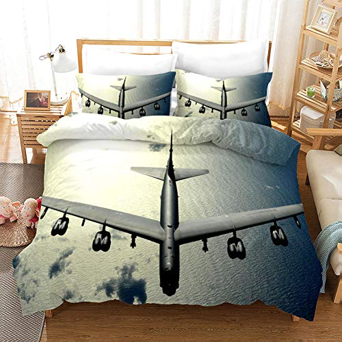 Duvet Cover Single Bed 135 x 200 cm Bedding set in Microfiber with 2 Pillowcases 50 x 75 cm with Zipper Transport aircraft Printing Duvet Cover set