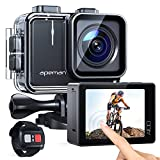 APEMAN Action Cam A100,Echte 4K 50fps WiFi 20MP Touchscreen Unterwasserkamera Digitale wasserdichte 40M Helmkamera (2.4G Fernbedienung, 2x1350mAh verbesserten Batterien)