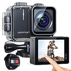 APEMAN Action Cam A100, echte 4K 50fps WiFi 20MP Touchscreen Onderwater Camera Digitale Waterdichte 40M Helmcamera (2.4G afstandsbediening, 2x1350mAh verbeterde batterijen)*