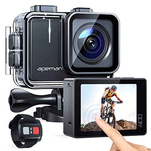 APEMAN Action Cam A100, Echte 4K 50fps WiFi 20MP Touchscreen Unterwasserkamera Digitale wasserdichte 40M Helmkamera (2.4G Fernbedienung, 2x1350mAh verbesserten Batterien)