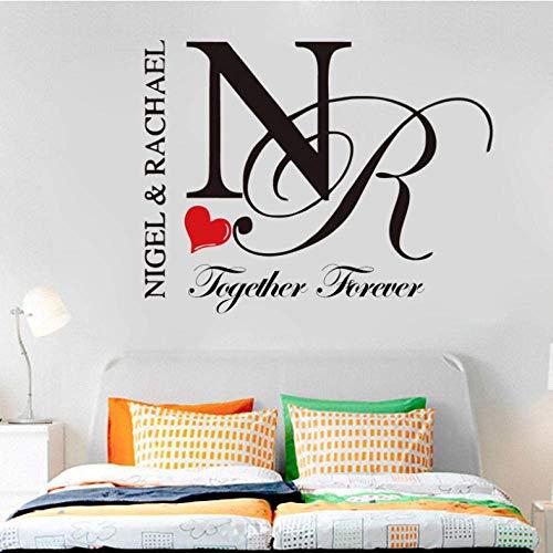 Muursticker Aangepaste naam Eerste letter Vinyl Muursticker Woorden Sticker voor Paar Slaapkamer Personaliseren Muursticker voor Home Decor