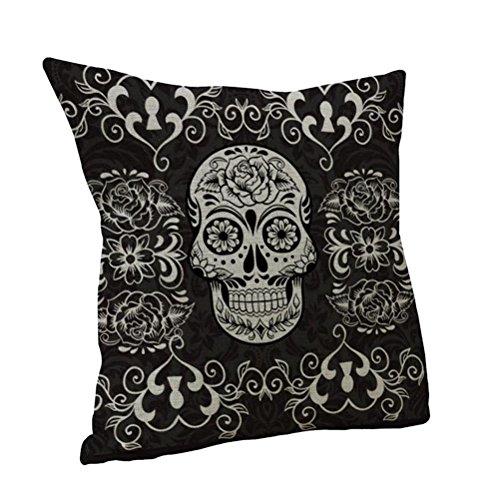 Nunubee Black Skull Flower Linen Cotton Cushion Cover Throw Pillowcase Home Car Sofa