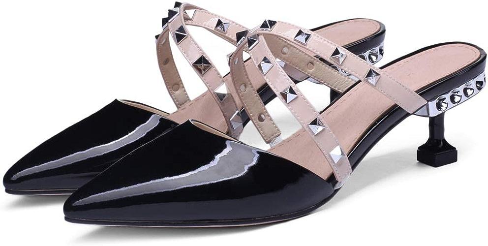 ZYN-XX Rivet Pointu Talons Hauts Femmes a souligné Demi Pantoufles Baotou Pantoufles Mode Classique Cross Cat avec des Chaussures à Talons Baotou Pied Chaussures de Sport