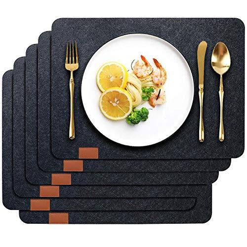 Wuudi Manteles Individuales Mantel Conjunto Negro de 6 Piezas ,Resistente Al Calor Antideslizante Lavable para Restaurante Casa