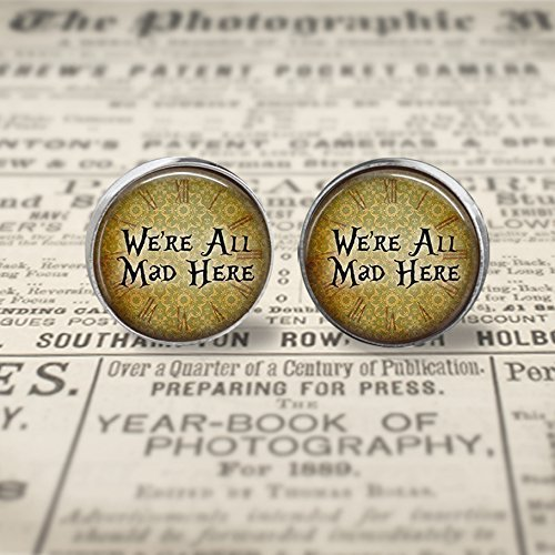 We're All Mad Here Stud Earrings- silver