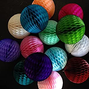 """Silk Flower Arrangements Artificial and Dried Flower Shipping 50pcs 10""""(25cm) Black White Green Red Pink Blue Purple Lilac Grey Orange Colorful Tissue Paper Honeycomb Balls"""