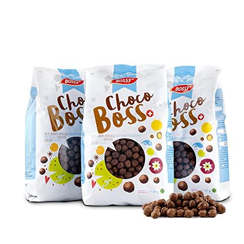 "3x 375g Bossy ""Choco Boss"" Knusper Müsli / Cornflakes mit Schokoladengeschmack / gesunde Maiskugeln als Schokoflakes / Schoko Crispies als Frühstückscerealien / vegan & ohne Palmöl"
