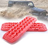 RUGCEL Winch New Recovery Traction Boards, Escaper Buddy Traction Mats for Off-Road Mud, Sand, Snow Vehicle Extraction (Set of 2) (Red)