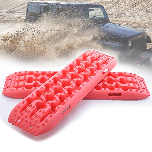 Pismire New Recovery Traction Tracks Traction Mats for Off-Road Mud, Sand, & Snow Vehicle Extraction (Set of 2) (Pink)