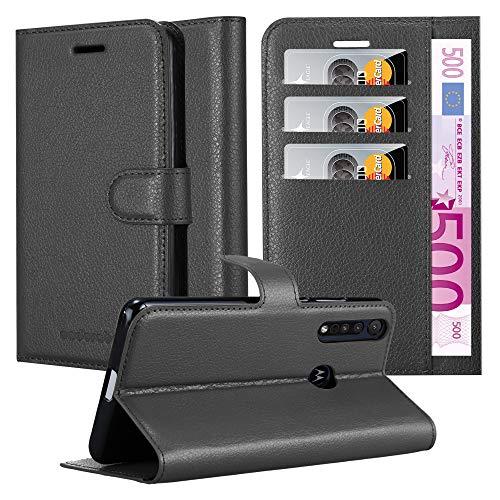 Cadorabo Hülle für Motorola ONE Macro in Phantom SCHWARZ - Handyhülle mit Magnetverschluss, Standfunktion & Kartenfach - Hülle Cover Schutzhülle Etui Tasche Book Klapp Style