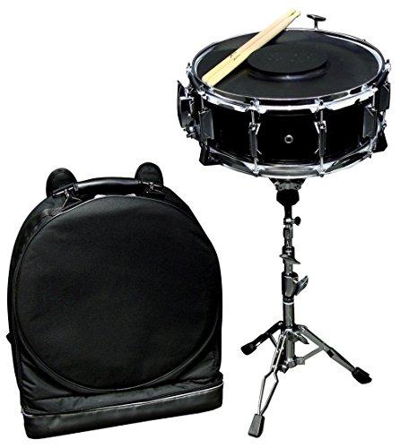 GEWA pure Snaredrum starterset 14 x 5,5 inch eenvoudig uittrekbaar, populierenketel zwart folie, incl. rugzakzak, rubberen mat, 1 paar stokken