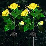 Luces Solares Exterior Jardín,3 Luces LED Rosas Solar Luces de...