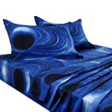 PiccoCasa Galaxy Bed Sheet Set,4 Piece Soft Polyester Microfiber Bedding Set,Including 3D Space Star Theme Bed Sheet & Fitted Sheet with 2 Pillowcases Blue Queen