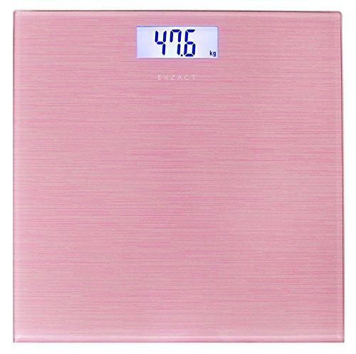 Exzact - Bilancia Elettronica Corporea/Pesapersone Digitale/Scala Elettronica Corpo/Bilancia da Bagno- Grande capacità 180kg / 400lb - Alta precisione, Display LCD retroilluminato(Rosa Metallico)