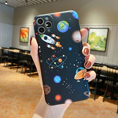 """Mode Süße iPhone Hülle Kompatibel mit iPhone 7 Plus (5.5 Zoll Bildschirm) / Niedliche Flexible Gel IMD Soft TPU Hülle mit Ganzkantenschutz (Sternenhimmel und Rakete, iPhone 8 Plus (5.5"""")"""