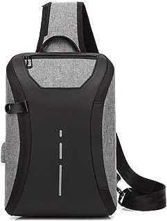 Summer One-Piece Men's Chest Bag, Red Outdoor Casual Shoulder Bag, USB Charging Multi-Function Messenger Bag,Gray