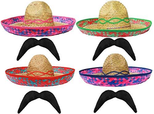 Sombrero de paja mexicano rojo + bigote perfecto para cualquier fiesta de disfraces de México Sombreros para hombres y mujeres al por mayor – X12 Somberro + X12 Moustashe