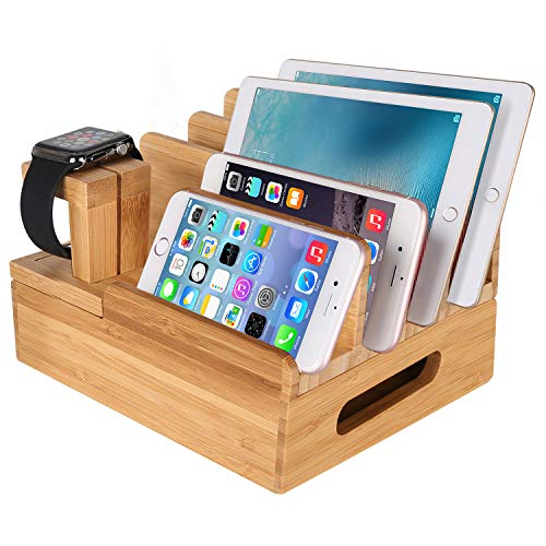 XPhonew Bamboo Wood Multi-Device Desktop Charging Dock Station Charger Holder Cradle Stand Compatible iPhone XS MAX XR X 8 7 6 6S Plus iPad Mini Pro Air Apple Watch/iWatch 2 3 4 Samsung Smartphones