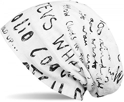 styleBREAKER Beanie Mütze mit Schrift Muster im Destroyed Vintage Design, Slouch Longbeanie, Unisex 04024074, Farbe:Weiß