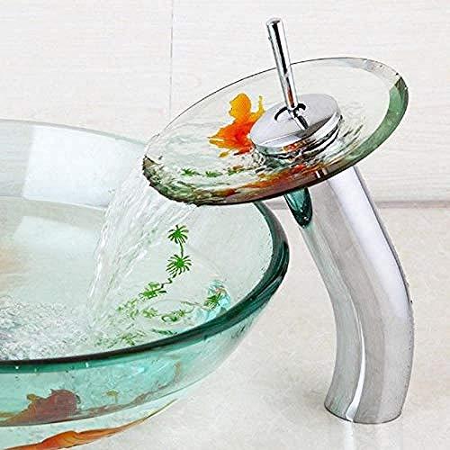 Wasserhahn,Wasserhahn Design Roter Fisch Chrom Messing Wasserfall Wasserhahn Transparent Gehärtetes Glas Wasserhahn Für Glasspüle