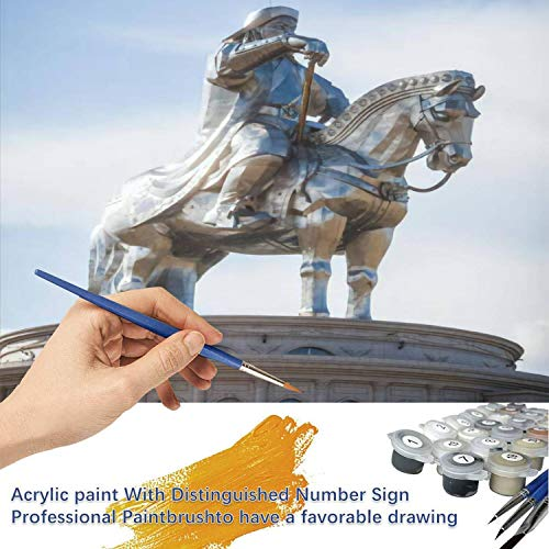Paint by Numbers Kits Digital Oil Painting for Kid Adult Beginner Drawing Paintwork with Frame Home Office Gift Indoor Outdoor - Genghis Khan Monument at zonjin boldog Mongolia Horses Stock
