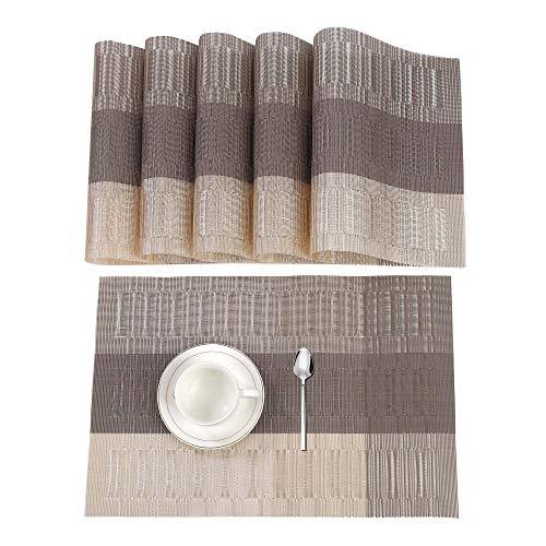 ISIYINER Hitzebeständiges waschbares rutschfestes PVC-Tischset für Haus und Restaurant 6 Pack  Beige