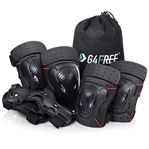 G4Free Knee Elbow Pads Wrist Guards 3 In 1 Protective Gear Set for Adults Women Men Kids Bike Skateboard Rollerblades Inline Roller Skating Cycling BMX Bicycle Scooter