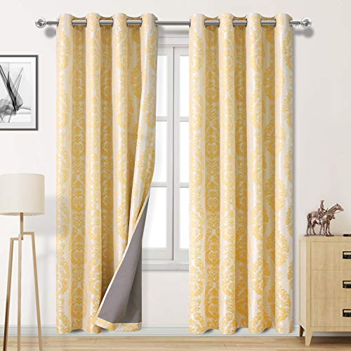 DWCN Yellow 100% Blackout Curtains with Thermal Back Coating - Insulated Energy Saving Curtains Floral Jacquard Damask Drapes for Living Room and Kids Room, 52 x 84 inch, 2 Panels