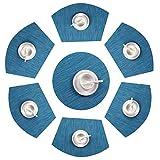 SHACOS Set da 7 tovagliette PVC Tovagliette da tavola Lavabile Non-scivolose Resistenti al Calore e indossabile Tovagliette Rotonda (Blu,7)