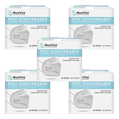 MeaVita FFP2 Maske, EU CE Zertifizierte Mund- und Nasenschutz nach EN149:2001+A1:2009, Atemschutz hohe Filtration, Partikelfiltermaske, Gummizug (200er)