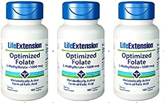 Life Extension Optimized Folate (L-Methylfolate), 1000 mcg 100 vegetarian Tablets (3 Pack) by Life Extension