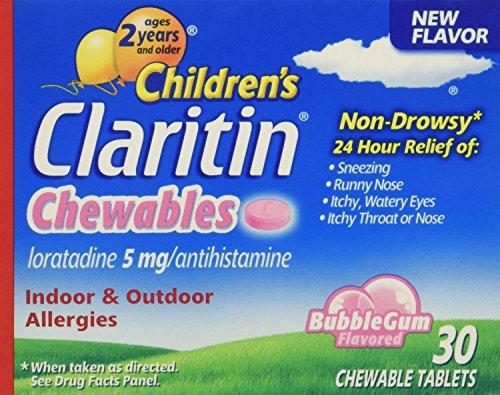 Claritin Children's 24 Hr Allergy Relief Bubble Gum Flavor 30 Chewable Tablets (1 Pack)